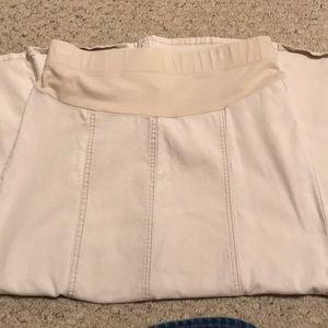 Modest Khaki Denim Maternity Skirt